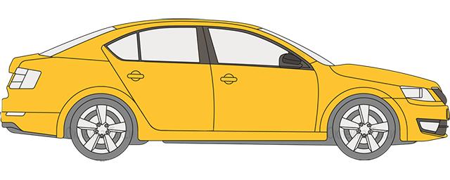 Полная оклейка такси жёлтой или белой плёнкой