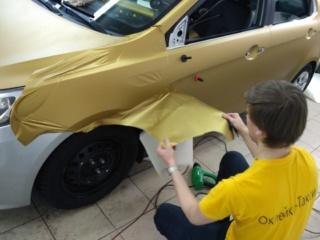 KIA RIO - оклейка золотой плёнкой «Oracal 641»