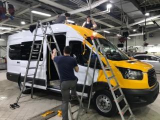 «Ford Transit» - полная оклейка жёлтой плёнкой «Oracal 551»